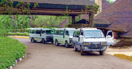 Safari buses near the hotel in Kenya.