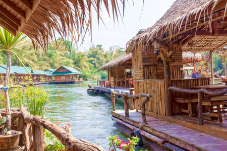 Floating tourist huts on the river Kwai, Thailand.