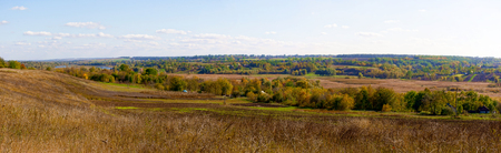Autumn landscape in Ukraine. Panorama. 版權商用圖片 - 124756258
