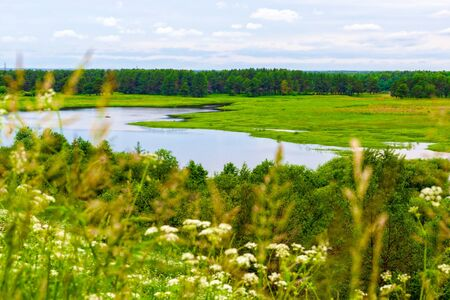The view from the bank of the river in Vetluga. Kostroma region.