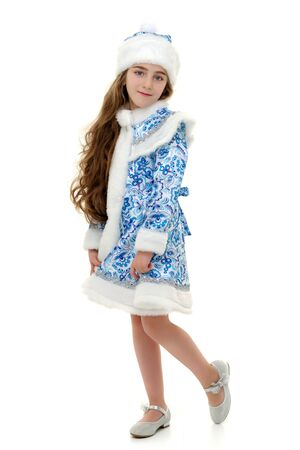 Little girl in the Snow Maiden costume