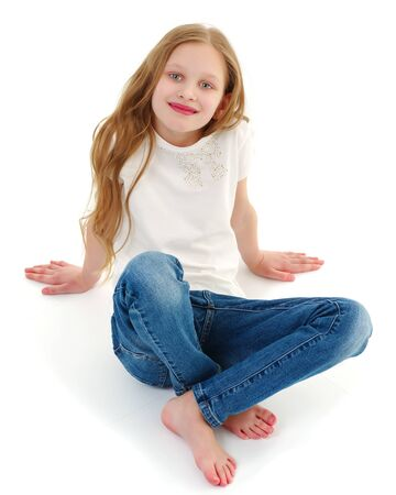 Beautiful little girl view from above. Stock Photo