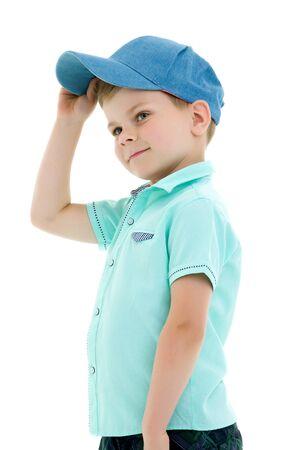 Cute fashionable boy on light background