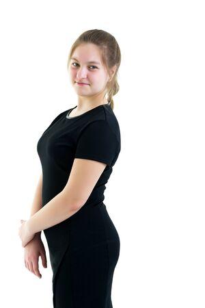 Schoolgirl portrait of teenage girl close-up. Isolated on white Stock Photo