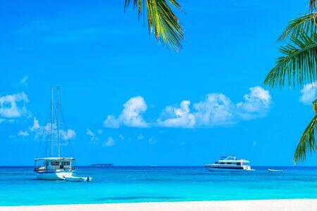 Yacht near the pier of a fabulous island