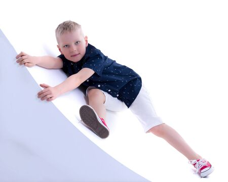 Little boy portrait in studio on white background