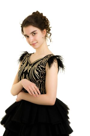 A teenage girl in a short dress. Foto de archivo - 131378227