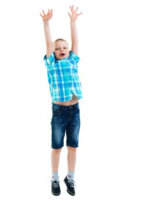 Little boy jumping.The concept of a happy childhood, sports and
