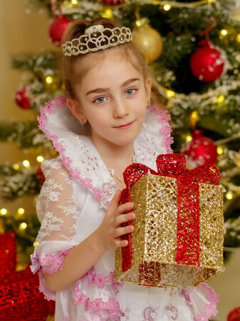 Little girl near the Christmas tree with a gift.