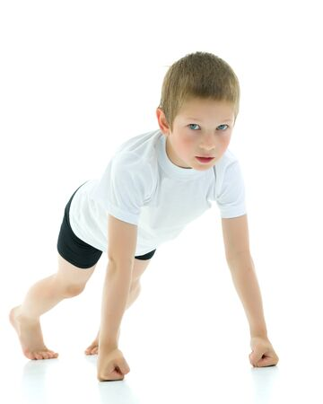 The little boy wrung out from the floor in fists