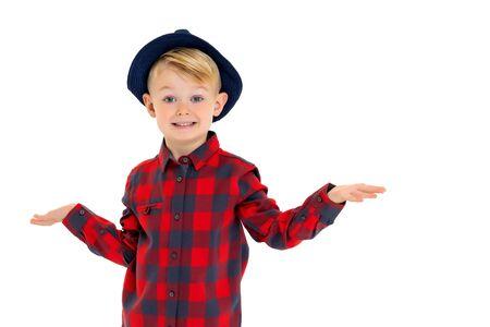 Little boy in a hat. Stock Photo