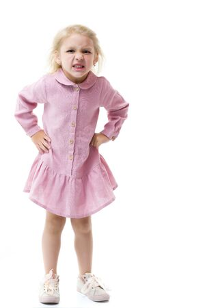 Little girl got angry, concept of childish emotions.