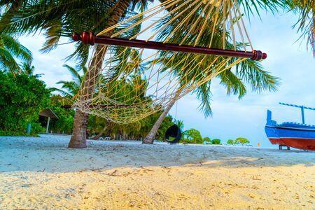 Empty hammock between palms trees at sandy beach