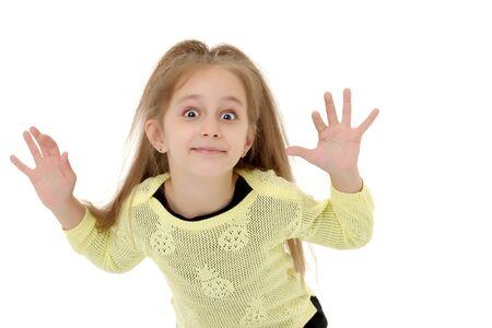 Kleines Mädchen gestikulierend. Isoliert auf weißem Hintergrund. Standard-Bild