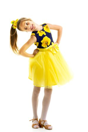 Little girl in an elegant dress.The concept of a happy childhood Standard-Bild - 139191269