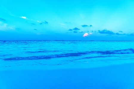 Beautiful landscape of clear turquoise Indian ocean, Maldives is