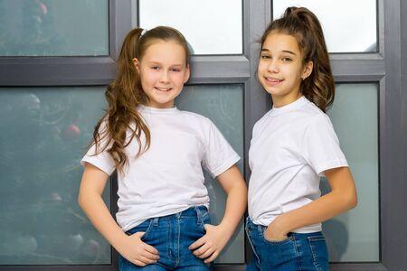 Two cute little girls posing in the studio near a large window. 免版税图像