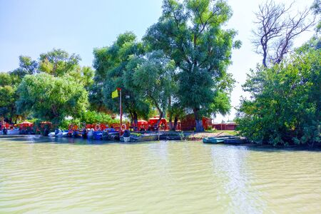 A boat station, a place where tourist boats await their customers.