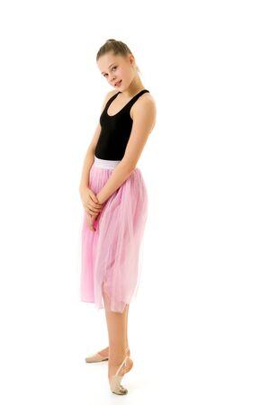 Pretty Girl in Stylish Tulle Dress Standing Against White Backgr