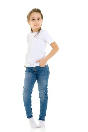 Girl in Blank White Shirt and Blue Jeans Standing Half Turn