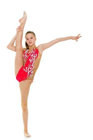 Gymnast Girl Doing Vertical Splits Holding her Leg up with Her Hand