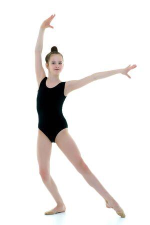The gymnast prepares to perform the exercise. Zdjęcie Seryjne