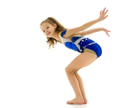 Girl gymnast jumping.The concept of a good mood, summer vacation