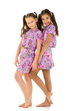 Two cute little girls in full growth