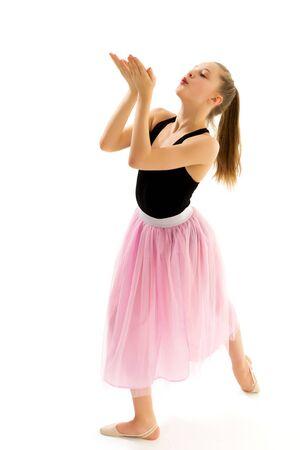 Graceful Girl Gymnast Performing Rhythmic Gymnastics Exercise