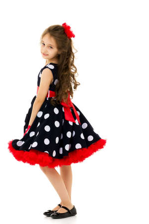 Front View Portrait of Girl in Retro Style Polka Dot Dress