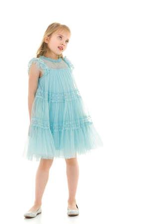 Little girl in a short denim dress.