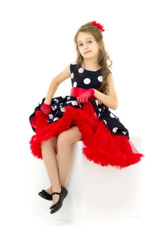 Portrait of Pretty Girl Wearing Retro Style Polka Dot Dress Stock Photo