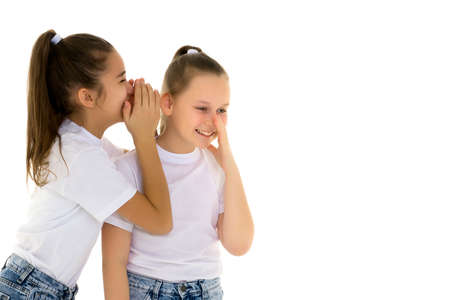 Two cheerful little girls share secrets in each other s ear.
