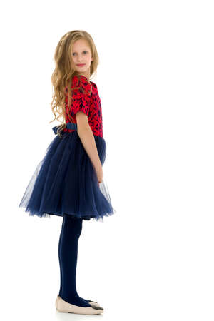 Side View of Cute Pretty Girl Wearing Nice Dress with Blue Tulle
