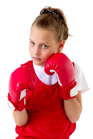 Sports boxer teenage girl, isolated on white background