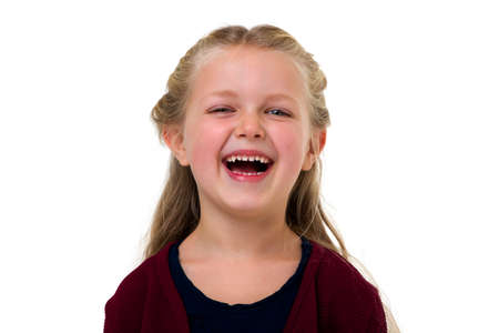 Portrait of happy laughing girl.
