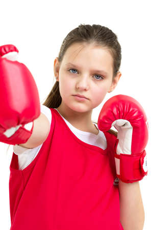 Sports boxer teenage girl, in the studio for white background. Фото со стока