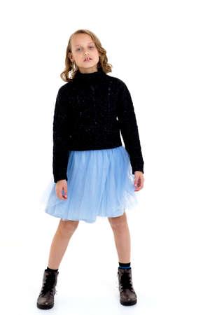 Pretty girl in umper and fluffy skirt