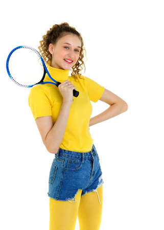Portrait of happy girl posing with tennis racket