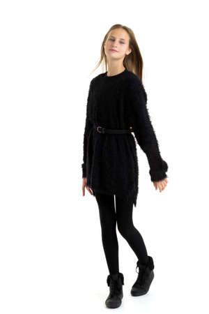 Stylish teenage girl with long hair flying on air