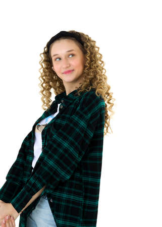Confident stylish teen girl proudly look at camera