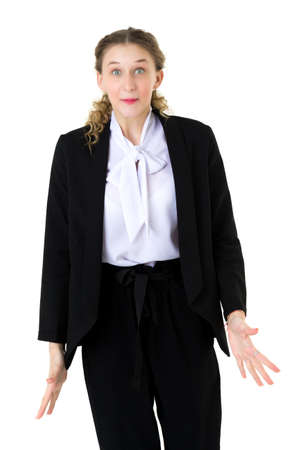 Happy astonished student girl in formal black suit Фото со стока
