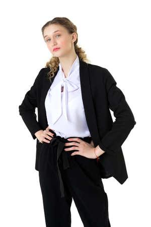 Model, student girl in formal black suit