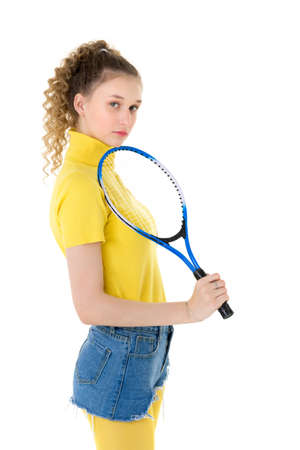 Portrait of beautiful girl with a tennis racket