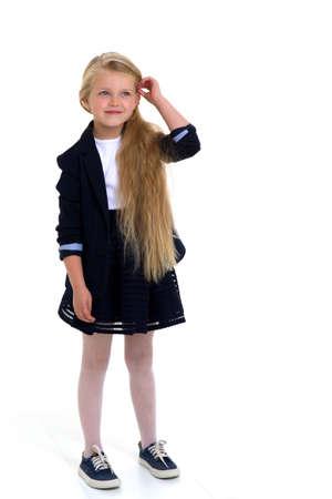 Cute long haired school girl Фото со стока