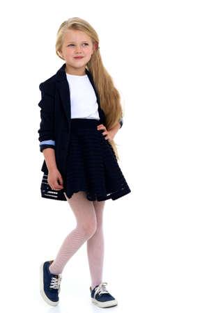 Cute girl elementary school student Фото со стока