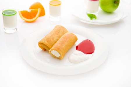 rolled: Rolled pancakes with cottage cheese