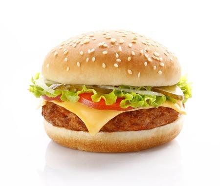 白い背景の上のおいしい新鮮なチーズバーガー