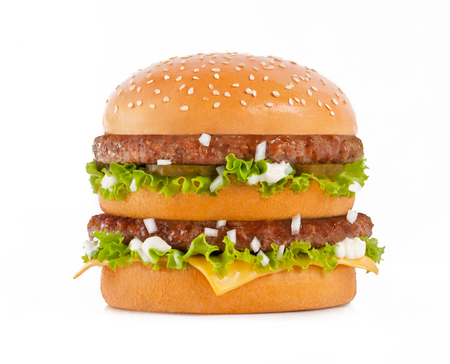 Double cheeseburger isolated on the white