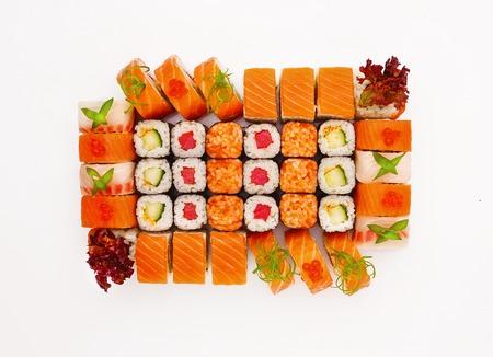 japanesse: Japanesse cuisine. Sushi set isolated on white background.